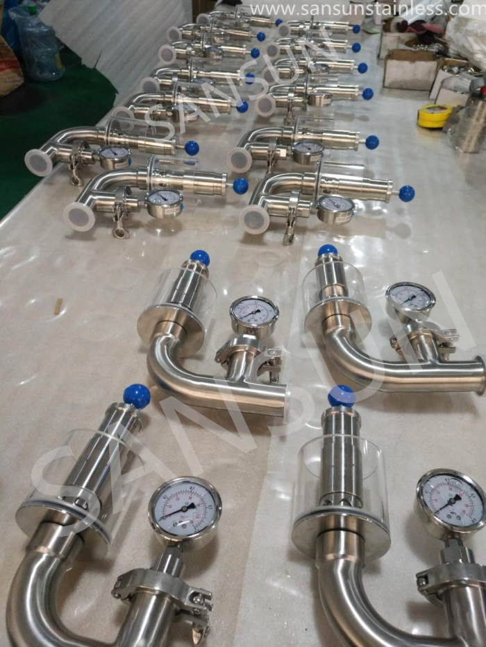 Stainless Steel Pressure Release Valve With Pressure Gauge